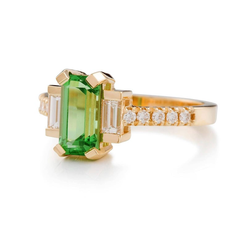 Vintage Tsavorite & Diamante Ring  This elegant Tsavorite ring has been sold however we are able to remake it with the metal or gemstones of your choice in 20 working days. Please contact us for more information.   Timeless and elegant, this