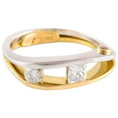 Kian Design Platinum and 18 Carat Yellow Gold Diamond Engagement Ring