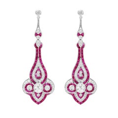 Elegant Ruby Diamond Drop Earrings