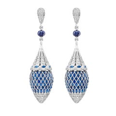 360 Degrees Blue Sapphire and Diamond Drop Earrings