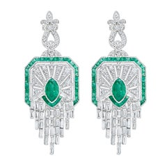 Natural Green Colombian Emerald Diamond Cascade Drop Earrings