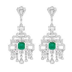 Vivid Green Zambian Emerald Diamond Chandelier Earrings