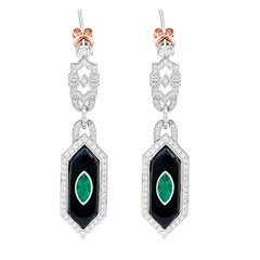 Hexagon  Emerald Onyx Diamond Drop Earrings