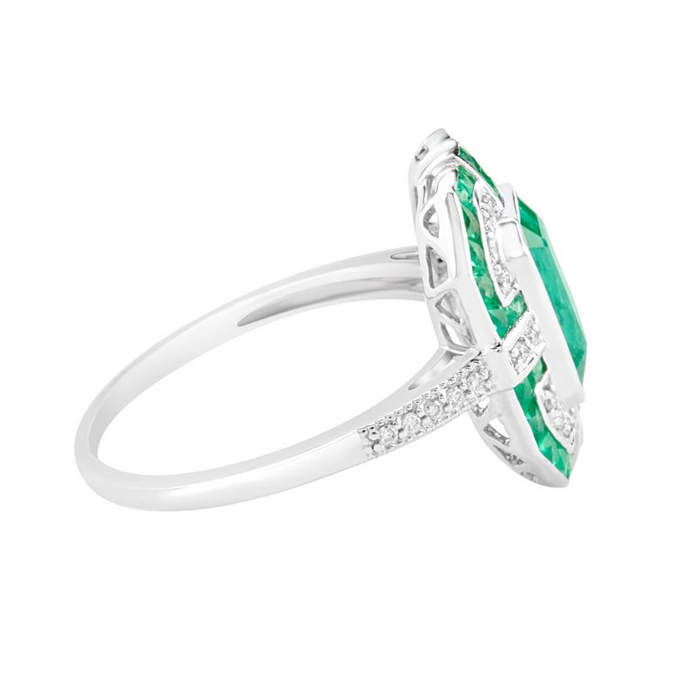 Geometric Design Octagon Emerald Diamond Ring 2