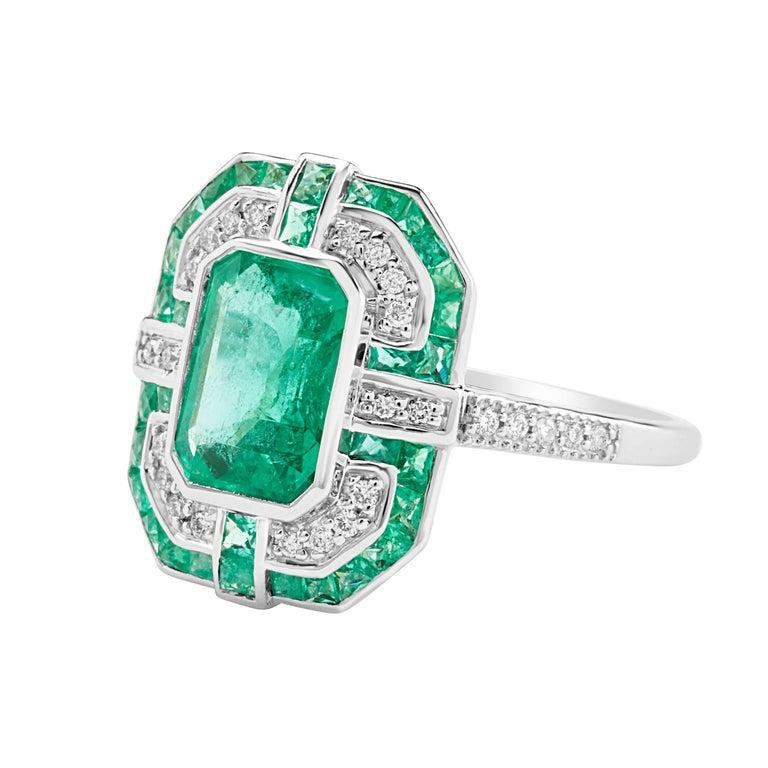 Geometric Design Octagon Emerald Diamond Ring 3