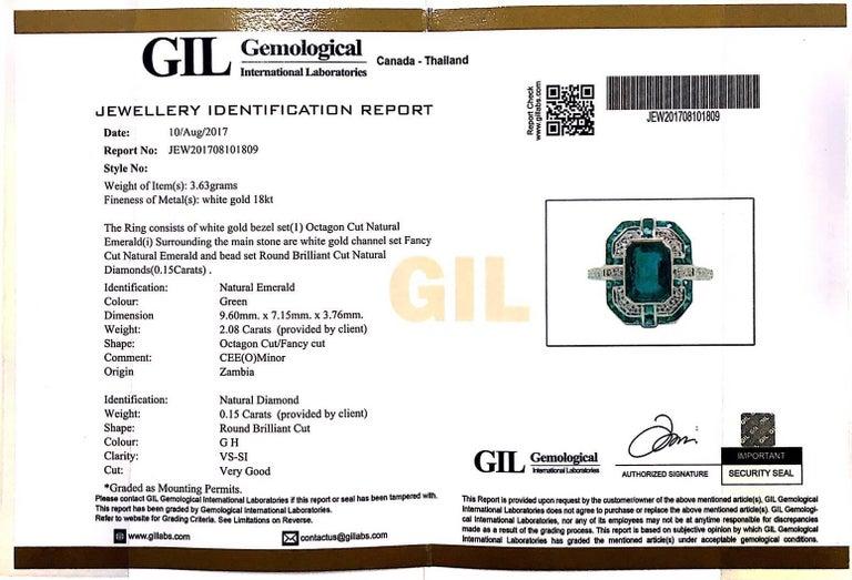 Geometric Design Octagon Emerald Diamond Ring 4