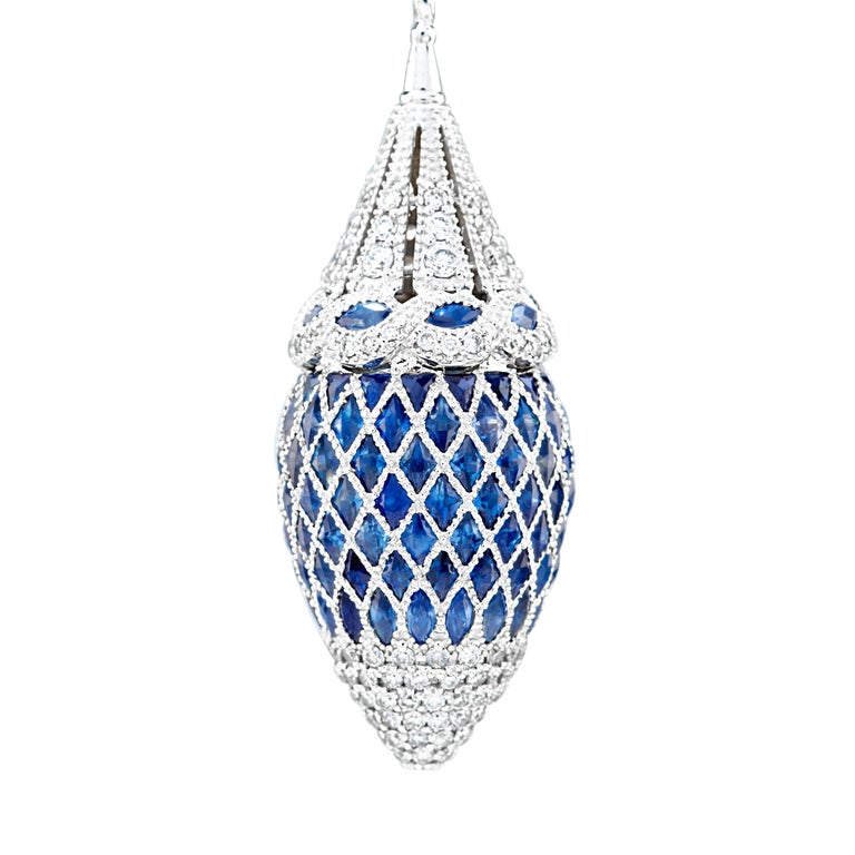 360 degrees blue sapphire and diamond drop earrings for