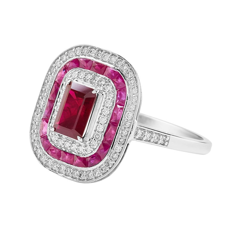 Vivid Ruby Diamond Double Halo Cocktail Ring 3