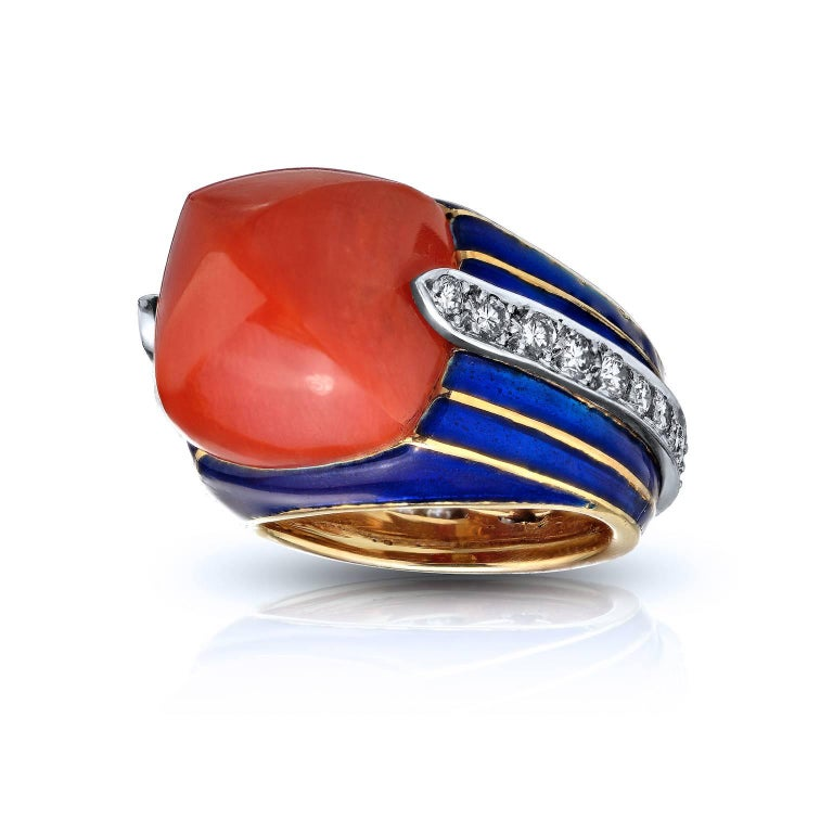 Tiffany & Co. Donald Claflin Coral Pyramid Diamond Enamel Gold Cocktail Ring 3