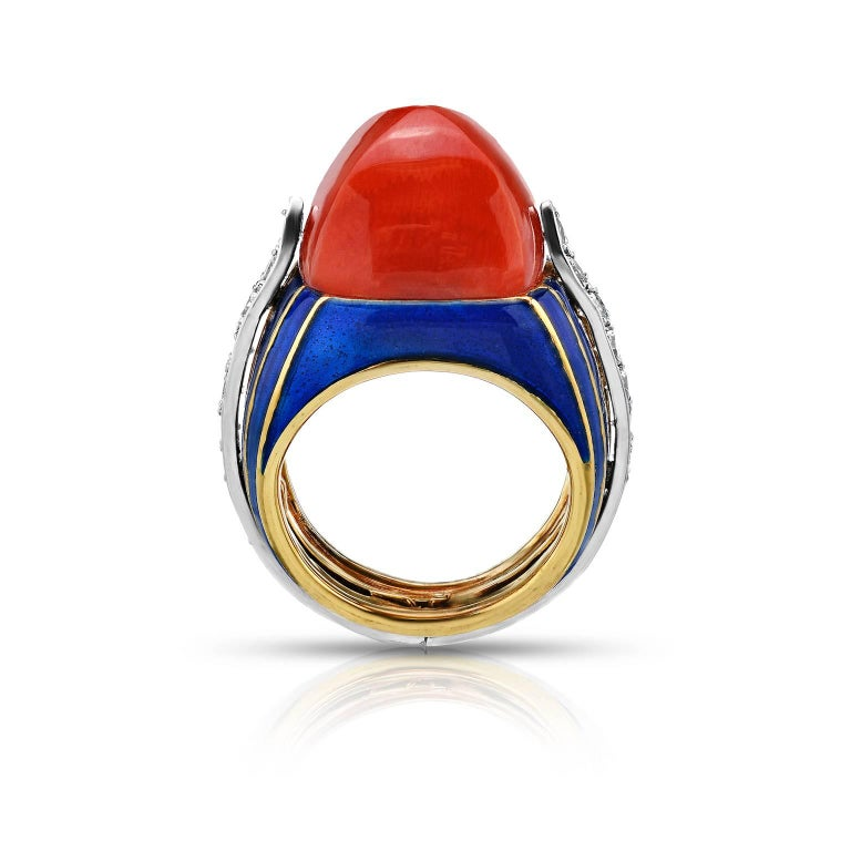 Tiffany & Co. Donald Claflin Coral Pyramid Diamond Enamel Gold Cocktail Ring 2