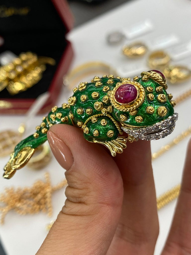 David Webb Tadpole Green Enamel, Diamonds, Rubies Vintage Brooch For Sale 2