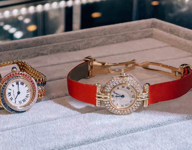 Cartier 18k Yellow Gold Colisee Diamond Satin Strap Watch In Good Condition For Sale In New York, NY