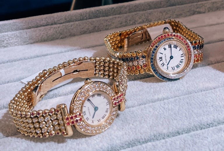 Cartier Rivoli 18 Karat Yellow Gold 1292 Diamonds and Ruby Ladies Watch In Excellent Condition For Sale In New York, NY