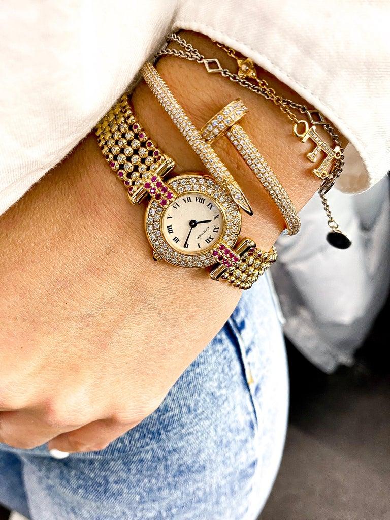 Women's or Men's Cartier Rivoli 18 Karat Yellow Gold 1292 Diamonds and Ruby Ladies Watch For Sale