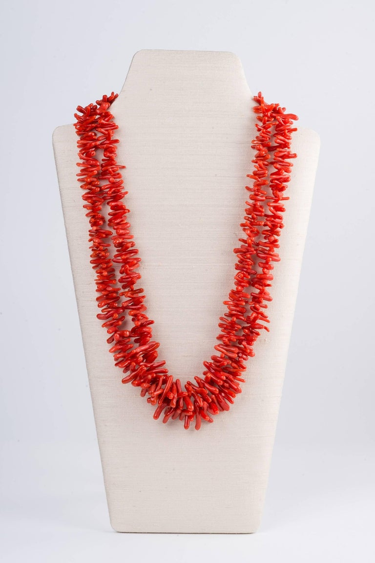 Fine Sardinian Branch Coral Necklace Double Strands 18