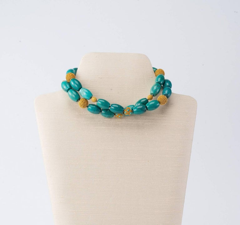 Contemporary Long Chinoiserie Necklace with Tibetan Turquoise and Vermeil Beads For Sale