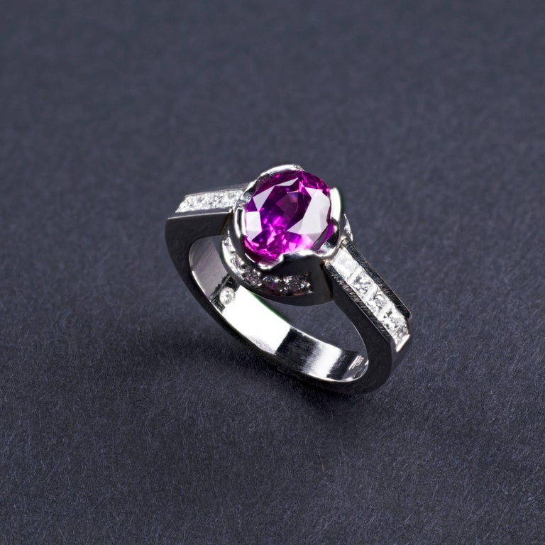platinum and pink sapphire engagement ring for