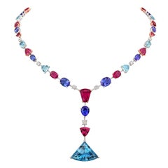 Tivon 18k Gold Diamond Tanzanite Tourmaline Aquamarine & Rubelite Full Collier