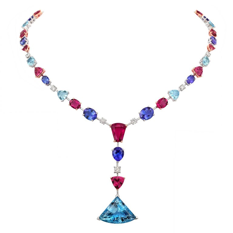 Tivon 18k Gold Diamond Tanzanite Tourmaline Aquamarine & Rubelite Full Collier