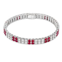 Tivon 18 Carat White Gold Burmese Ruby and Diamond Tennis Bracelet