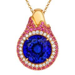 Tivon 18 Carat Rose Gold AAAA+ Tanzanite, Pink Sapphire and Diamond Pendant