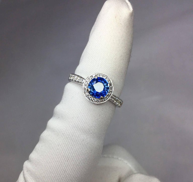1.30 Carat Ceylon Blue Sapphire and Diamond Halo Ring 18 Karat White Gold 5