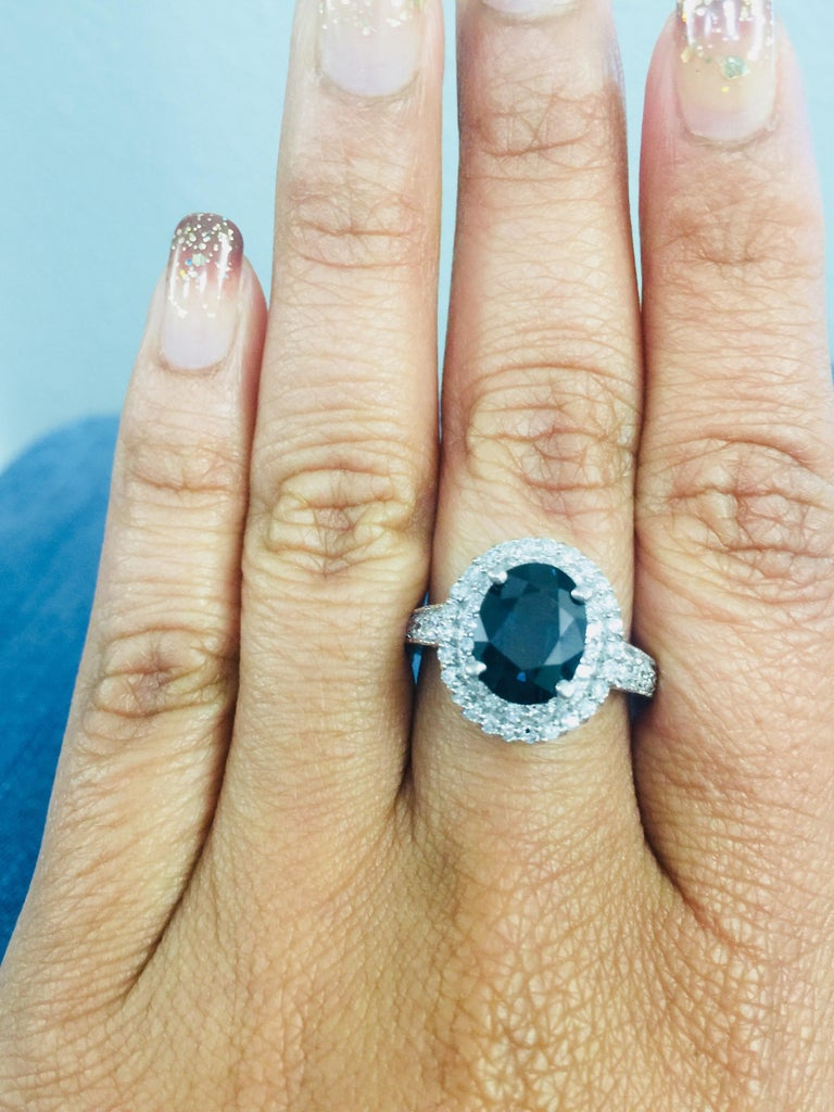 4.80 Carat Sapphire Diamond Double Halo White Gold Engagement Ring For Sale 1