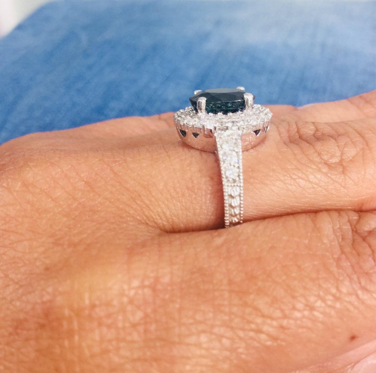 4.80 Carat Sapphire Diamond Double Halo White Gold Engagement Ring For Sale 2