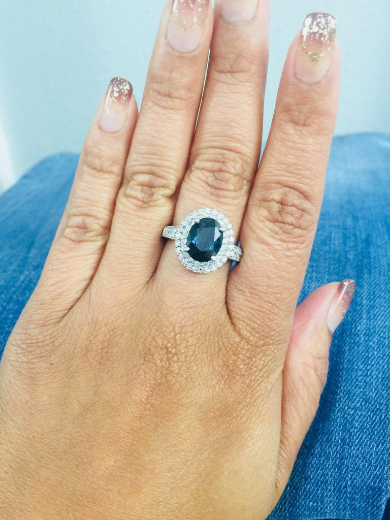 4.80 Carat Sapphire Diamond Double Halo White Gold Engagement Ring For Sale 3