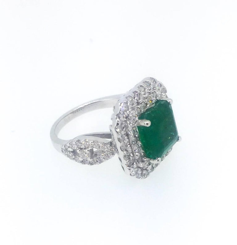 Modern 6.28 Carat Emerald Diamond Cocktail Ring For Sale