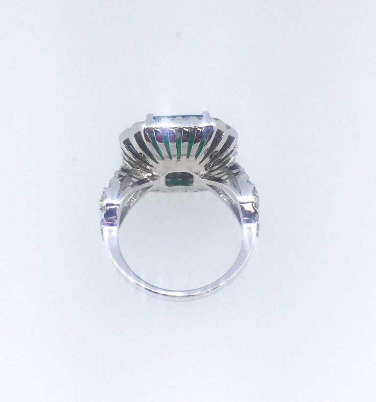 6.28 Carat Emerald Diamond Cocktail Ring In As New Condition For Sale In San Dimas, CA