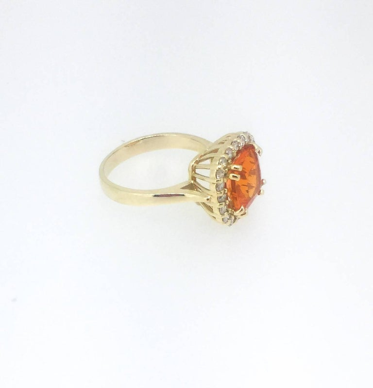Modern 2.48 Carat Fire Opal Diamond Cocktail Ring For Sale