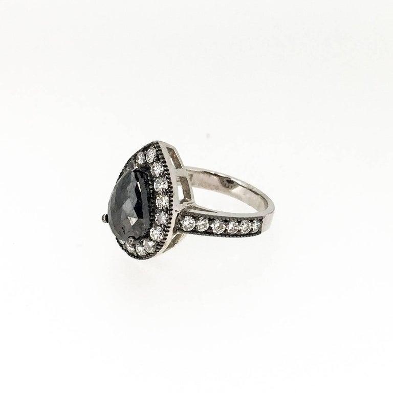 2 98 Carat Black Diamond Cocktail Ring For Sale at 1stdibs