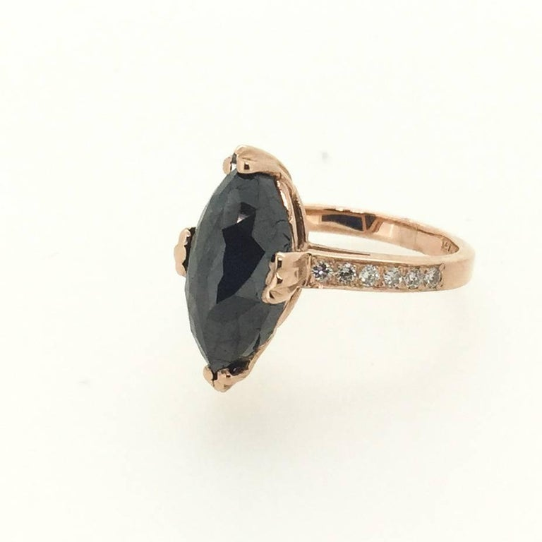 Black Diamond Engagement Ring For Sale at 1stdibs