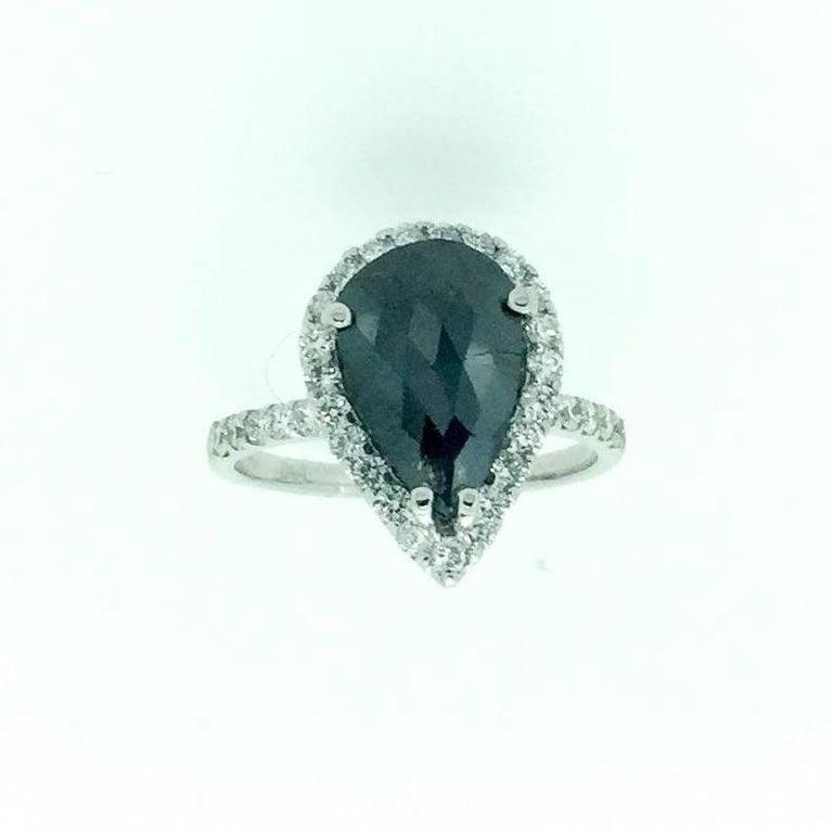 2 53 Carat Black Diamond Engagement Ring For Sale at 1stdibs