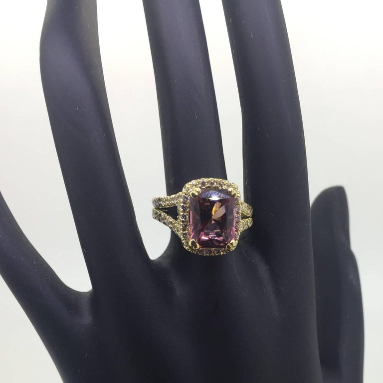 Modern 4.01 Carat Tourmaline Diamond Cocktail Ring For Sale
