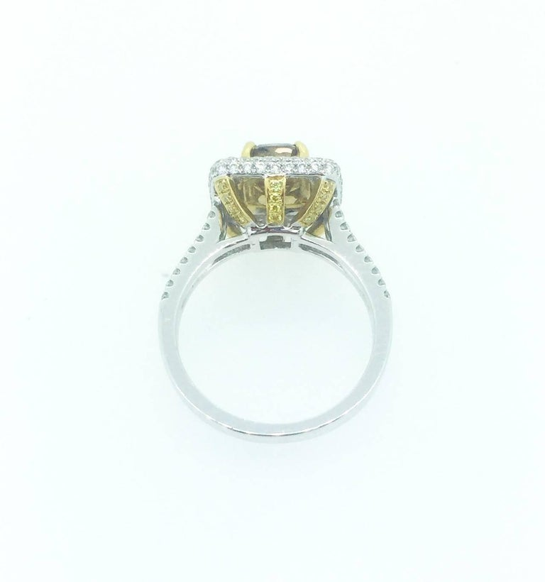Modern 1.98 Carat Natural Brown Yellow and White Diamond Engagement Ring For Sale