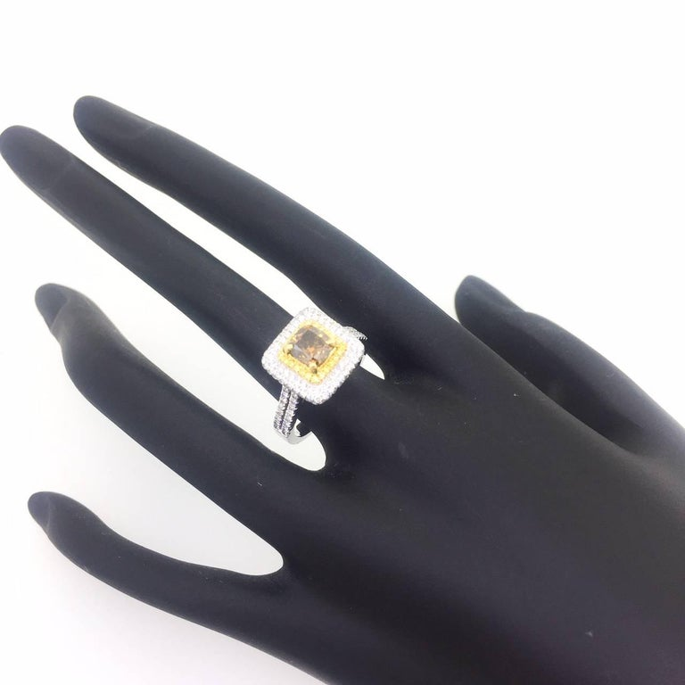 1.98 Carat Natural Brown Yellow and White Diamond Engagement Ring In New Condition For Sale In San Dimas, CA