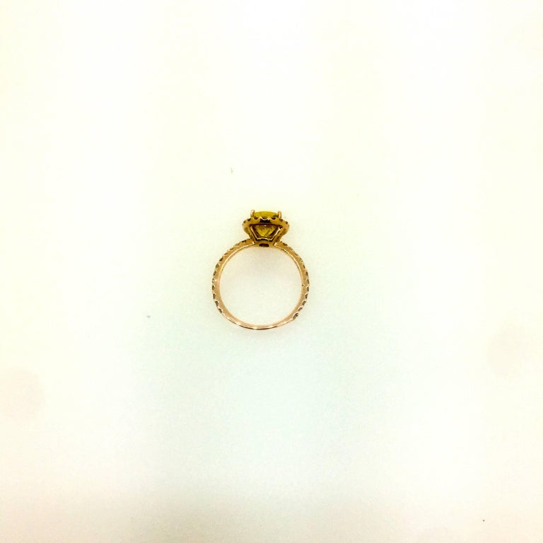3.35 Carat Yellow Sapphire Halo Diamond Ring In New Condition For Sale In San Dimas, CA