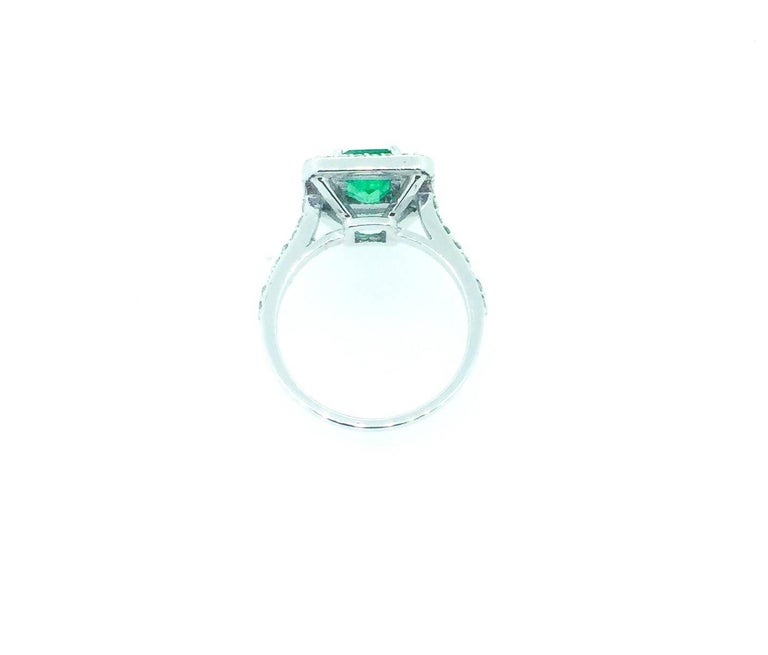 Modern 1.84 Carat Emerald Diamond Engagement Ring For Sale