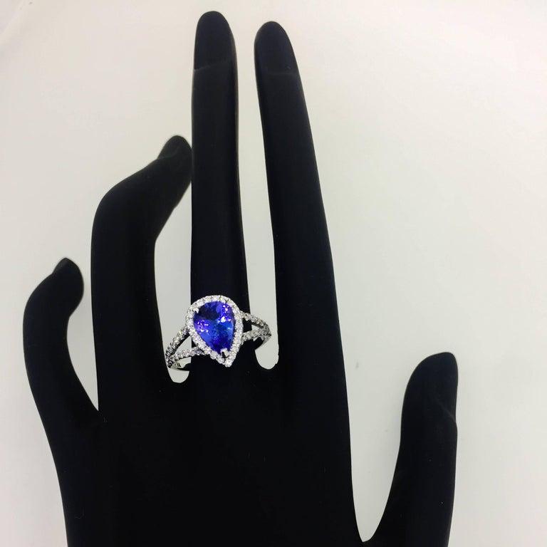 2.04 Carat Tanzanite Diamond Halo Ring 3