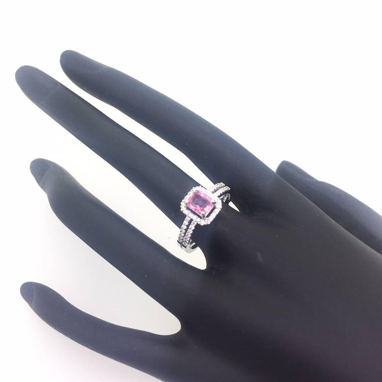Cushion Cut GIA Certified Pink Sapphire Diamond Ring For Sale