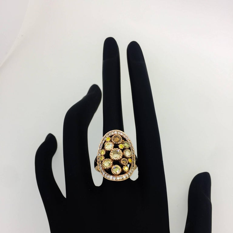 Modern 1.86 Carat Fancy Colored Diamond Cocktail Ring For Sale