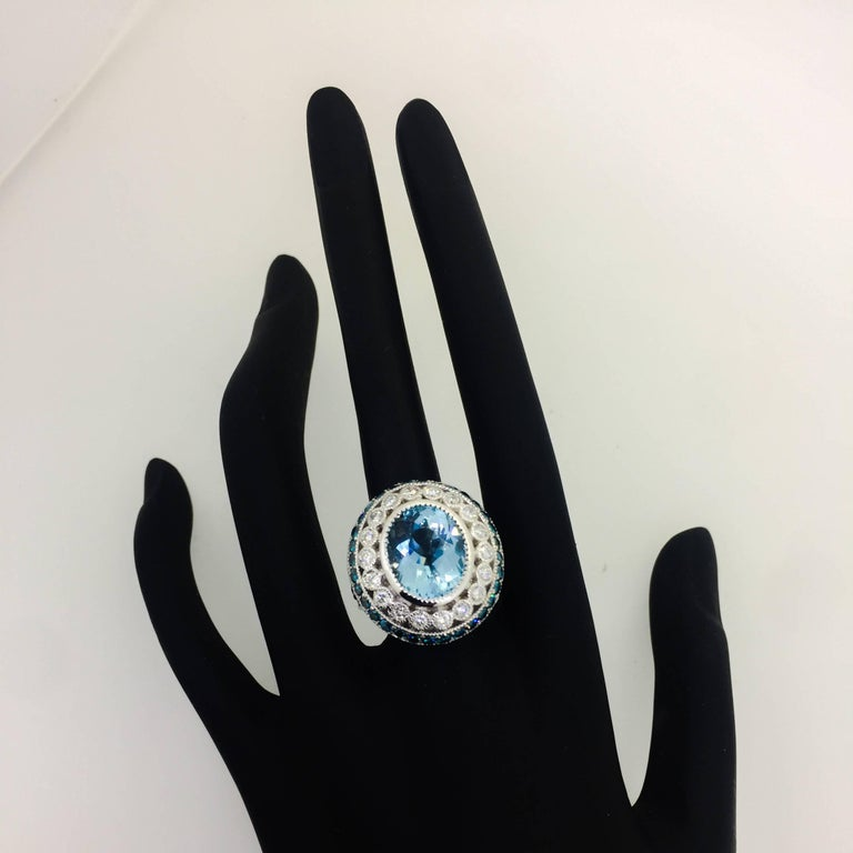 Modern 6.52 Carat Aquamarine Blue Treated Diamond Cocktail Ring For Sale