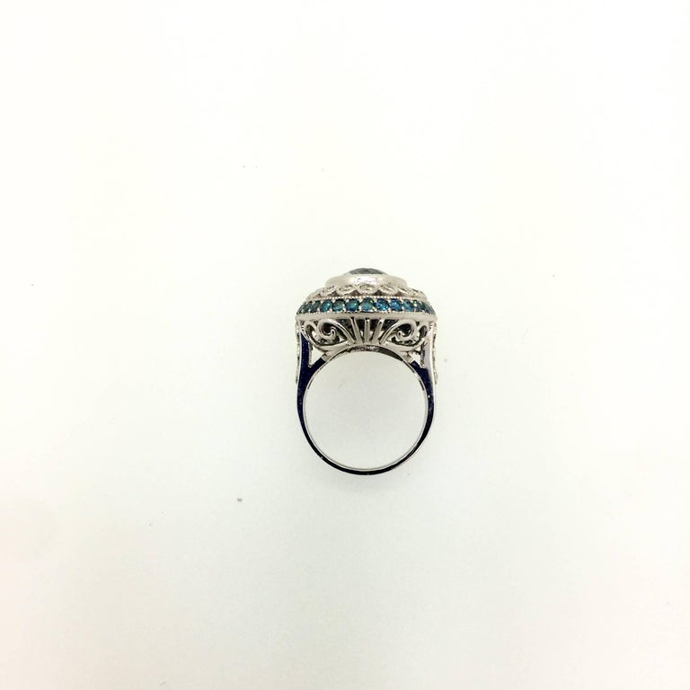 6.52 Carat Aquamarine Diamond Cocktail White Gold Ring In As new Condition For Sale In San Dimas, CA