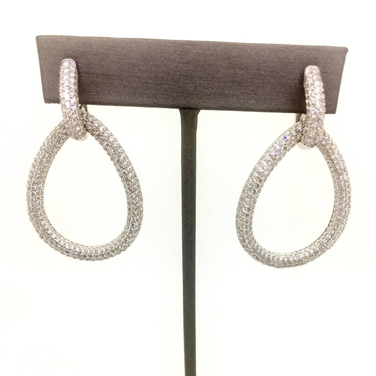 Modern 7.30 Carat Diamond Dangling Lever-Back Earrings For Sale