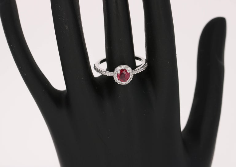 Modern 0.97 Carat Ruby Diamond Ring White Gold For Sale