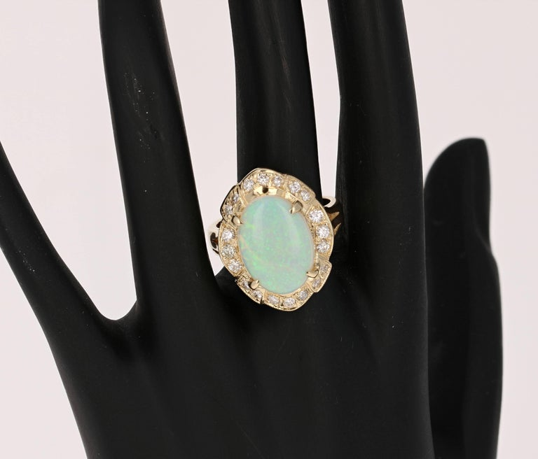 Women's 4.21 Carat Oval Cut Opal Diamond Yellow Gold Art Deco Ring For Sale