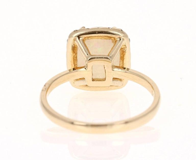 Modern 1.65 Carat Opal Diamond Yellow Gold Ring For Sale
