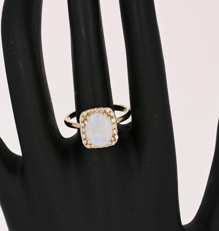 Oval Cut 1.65 Carat Opal Diamond Yellow Gold Ring For Sale